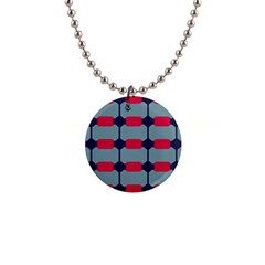 Red Blue Shapes Pattern                                                                                     1  Button Necklace
