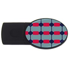 Red Blue Shapes Pattern                                                                                     			usb Flash Drive Oval (4 Gb) by LalyLauraFLM