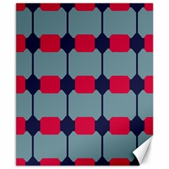 Red Blue Shapes Pattern                                                                                     			canvas 8  X 10  by LalyLauraFLM