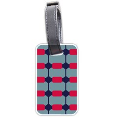 Red Blue Shapes Pattern                                                                                     			luggage Tag (one Side) by LalyLauraFLM
