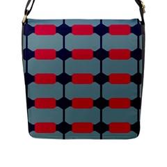 Red Blue Shapes Pattern                                                                                     flap Closure Messenger Bag (l) by LalyLauraFLM