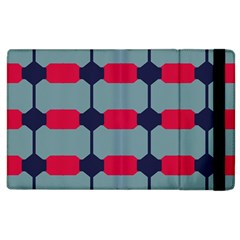 Red Blue Shapes Pattern                                                                                     			apple Ipad 2 Flip Case by LalyLauraFLM