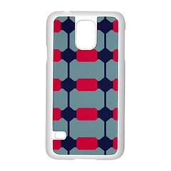 Red Blue Shapes Pattern                                                                                     samsung Galaxy S5 Case (white) by LalyLauraFLM