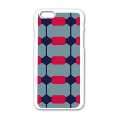 Red Blue Shapes Pattern                                                                                     apple Iphone 6/6s White Enamel Case by LalyLauraFLM