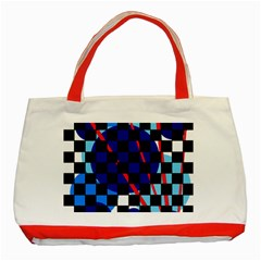 Blue Abstraction Classic Tote Bag (red) by Valentinaart