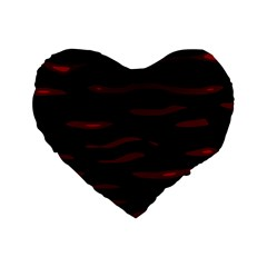 Red And Black Standard 16  Premium Heart Shape Cushions by Valentinaart