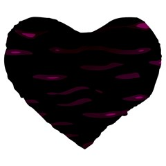 Purple And Black Large 19  Premium Flano Heart Shape Cushions by Valentinaart