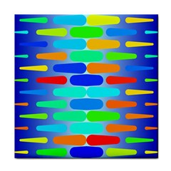 Colorful Shapes On A Blue Background                                                                                       tile Coaster by LalyLauraFLM
