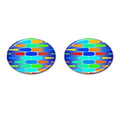 Colorful Shapes On A Blue Background                                                                                       cufflinks (oval)