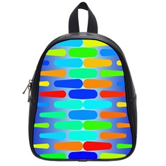 Colorful Shapes On A Blue Background                                                                                       			school Bag (small) by LalyLauraFLM