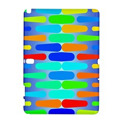 Colorful shapes on a blue background                                                                                      Samsung Galaxy Note 10.1 (P600) Hardshell Case by LalyLauraFLM