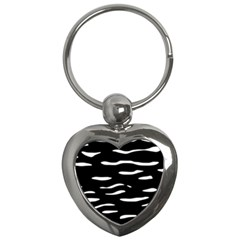Black And White Key Chains (heart)  by Valentinaart