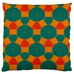 Honeycombs And Triangles Pattern                                                                                       	large Flano Cushion Case (two Sides) by LalyLauraFLM
