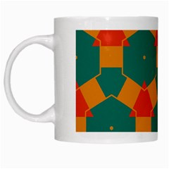 Honeycombs And Triangles Pattern                                                                                       White Mug by LalyLauraFLM