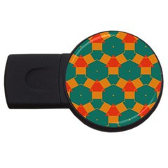 Honeycombs And Triangles Pattern                                                                                       usb Flash Drive Round (4 Gb) by LalyLauraFLM