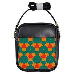 Honeycombs And Triangles Pattern                                                                                       			girls Sling Bag by LalyLauraFLM