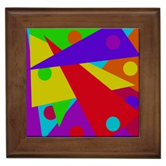 Colorful abstract design Framed Tiles by Valentinaart