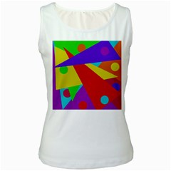 Colorful abstract design Women s White Tank Top by Valentinaart