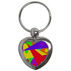 Colorful Abstract Design Key Chains (heart)  by Valentinaart