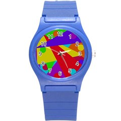 Colorful Abstract Design Round Plastic Sport Watch (s) by Valentinaart