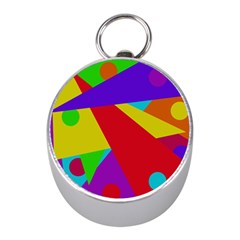 Colorful Abstract Design Mini Silver Compasses by Valentinaart