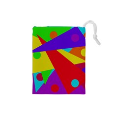 Colorful Abstract Design Drawstring Pouches (small)  by Valentinaart