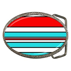 Blue, Red, And White Lines Belt Buckles by Valentinaart