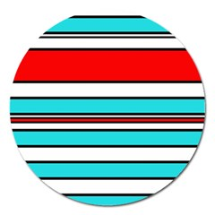 Blue, Red, And White Lines Magnet 5  (round) by Valentinaart