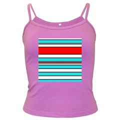 Blue, red, and white lines Dark Spaghetti Tank by Valentinaart
