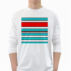 Blue, Red, And White Lines White Long Sleeve T Shirts by Valentinaart