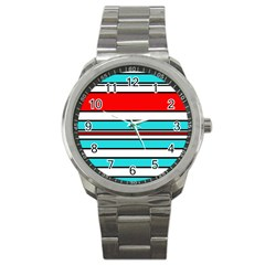 Blue, Red, And White Lines Sport Metal Watch by Valentinaart