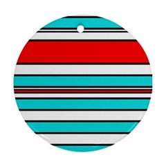 Blue, red, and white lines Round Ornament (Two Sides)  by Valentinaart