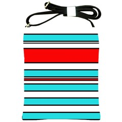 Blue, Red, And White Lines Shoulder Sling Bags by Valentinaart
