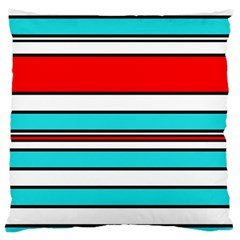 Blue, Red, And White Lines Large Flano Cushion Case (one Side) by Valentinaart