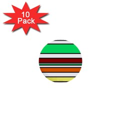 Green, Orange And Yellow Lines 1  Mini Buttons (10 Pack)  by Valentinaart
