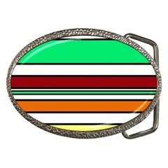 Green, orange and yellow lines Belt Buckles by Valentinaart
