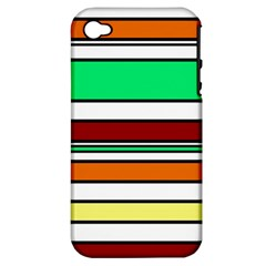 Green, Orange And Yellow Lines Apple Iphone 4/4s Hardshell Case (pc+silicone) by Valentinaart