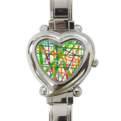 Colorful Lines Heart Italian Charm Watch by Valentinaart