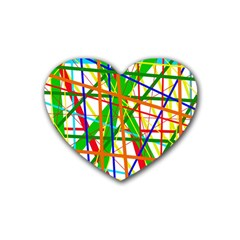 Colorful Lines Rubber Coaster (heart)  by Valentinaart
