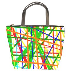 Colorful Lines Bucket Bags by Valentinaart