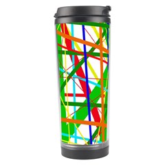 Colorful Lines Travel Tumbler by Valentinaart