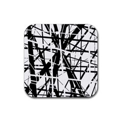 Black And White Abstract Design Rubber Coaster (square)  by Valentinaart