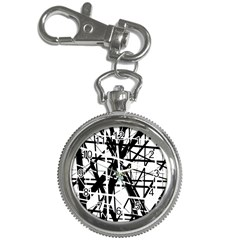Black And White Abstract Design Key Chain Watches by Valentinaart