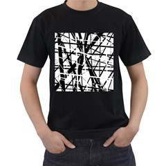 Black and white abstract design Men s T-Shirt (Black) (Two Sided)