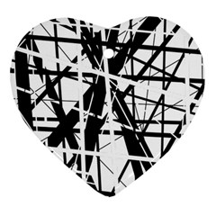 Black And White Abstract Design Heart Ornament (2 Sides) by Valentinaart