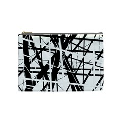 Black And White Abstract Design Cosmetic Bag (medium)  by Valentinaart