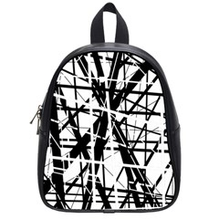 Black And White Abstract Design School Bags (small)  by Valentinaart