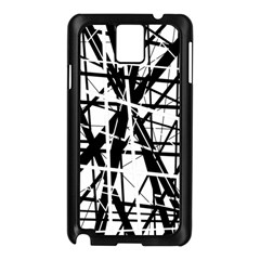 Black And White Abstract Design Samsung Galaxy Note 3 N9005 Case (black) by Valentinaart