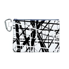 Black And White Abstract Design Canvas Cosmetic Bag (m) by Valentinaart