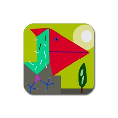 Abstract Bird Rubber Coaster (square)  by Valentinaart
